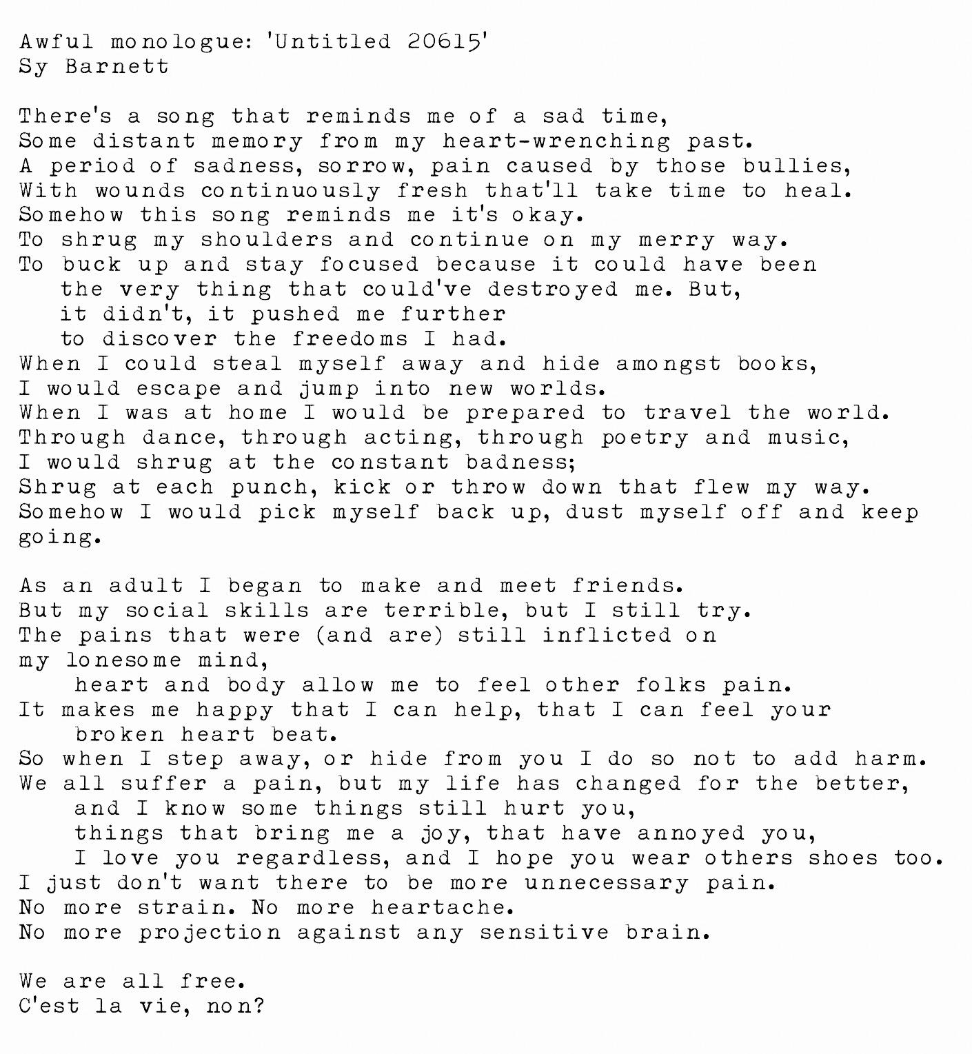 Monologue – Harlequin's Nook