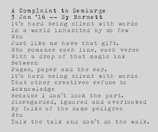 'A Complaint to Demiurge' by Sy Barnett